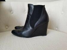 Stuart Weitzman Women's Leather Black Ankle Boots Wedge size 7 M