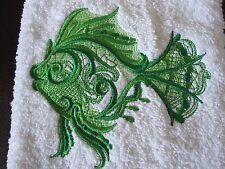 Machine Embroidered Hand towel Green Fish  Handmade -- New