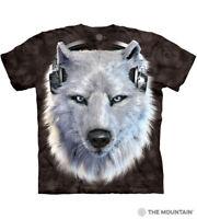 The Mountain White Wolf Face Men's T Shirt Large, Black