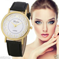 Geneva Fashion Women's Watch Leather Band Analog Quartz Gold Dress Wrist Watches