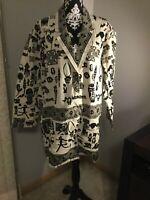 Primitive Arts African Tribal Print Jacket Cotton Black White Size Large