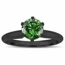 1.00 Carat Enhanced Green Diamond Solitaire Engagement Ring 14K Black Gold