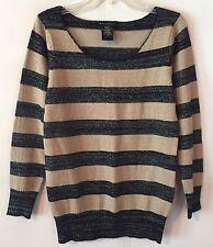 Metaphor Women's Large Sweater Black Khaki Tan Striped Silver Shimmer L/S Soft