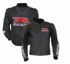 BLACK SUZUKI RGSX RACING MOTORBIKE  LEATHER JACKET CE APPROVED