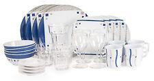 Melamin - Campinggeschirr Cubic Blue 28 Teilig Starterset +8xGläser+4 Eierbecher