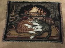 Charles Wysocki ALL BURNED OUT cats hugging by fireplace Tapestry Throw Blanket