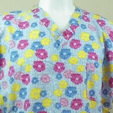 Nurse Scrub 2XL Flowers Blues Red Yellow  Get Well Hospital