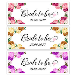 X 2 PERSONALISED DATE BRIDE TO BE BRIDAL SHOWER BANNERS HEN PARTY DECORATIONS