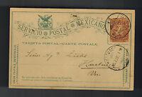 1895 Mexico DF to Huatusco Veracruz Mexico Postcard cover