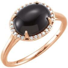 14k Rose Gold Black Onyx and Diamond Halo Ring Size 7