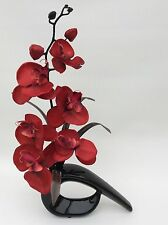 ARTIFICIAL/SILK FLOWERS IN MODERN SHAPED VASE* RED & BLACK *(FAST & FREE P&P)