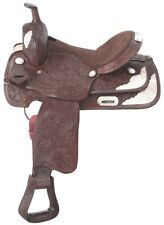16 Inch Western Show Saddle - Dark Oil Leather - Silver Plates and Accents