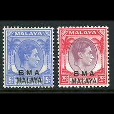 MALAYA BMA Overprints 1945-48 15c & 25c SG 11 & 13a. Lightly Hinged Mint (AX318)