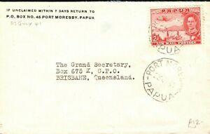 PAPUA KGVI Cover Port Moresby Australia Queensland Brisbane 1941 PB226