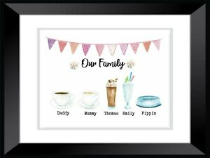 A4 Personalised -FAMILY KITCHEN HOME DRINKS - Wall Art PRINT ONLY CHRISTMAS GIFT