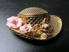 Hat w/Flowers Pin Broach Vintage Gold Plated Queen Mom
