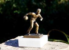 Metall Skulptur auf Marmorsockel Der Kegler 14 cm Bildhauerkunst
