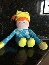 Vtg Fisher Price Dolly Boy Doll Plush Fabric Blue Rattle
