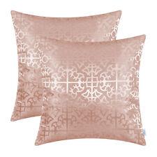 "2Pcs Dusty Pink Cushion Covers Pillows Shells Cross Flowers Trellis Decor 18x18"""