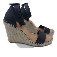 Dolce Vita Revolve Noor Wedge Espadrille Sandal Black size 9