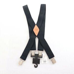 """Dickies Suspenders Mens Size 46"""" Black Elastic Metal Braces Adjustable"""