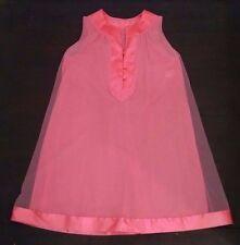 Vtg Gossard Artemis Nightgown Sheer Chiffon S Coral Peach Pink Satin Trim