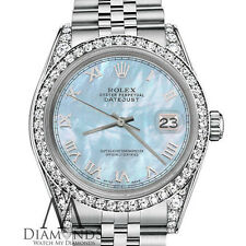 Rolex 26mm Datejust Baby Blue MOP Mother Of Pearl Roman Numeral SS Watch