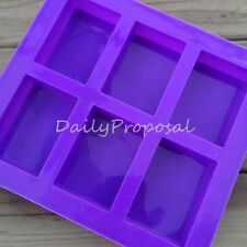 6 Cavity Rectangle Soap Bar Bake Mold Silicone Mould Tray Homemade Food Craft US