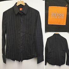 Hugo Boss Azul marino a rayas manga larga botón de camisa tamaño XL Diseñador