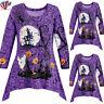 Plus Size Women Long Sleeve Halloween Pumpkin T-shirt Loose Tunic Tops Blouse US