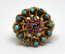 Antique 14K Solid Gold, Turquoise and Ruby Ring Size 4 3/4