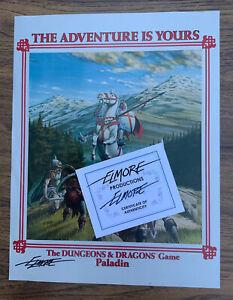 Vintage 1982 1st Ed TSR Promotional Paladin Poster AD&D - Larry Elmore SIGNED