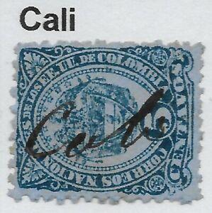 """Stamps-Colombia. 1883. 5c Azul Sobre Sg: 109. Usado """" Cali """"Bolígrafo Cancelado"""
