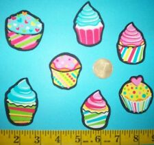 New! Cool! Cute Little Cupcakes IRON-ONS FABRIC APPLIQUES IRON-ONS