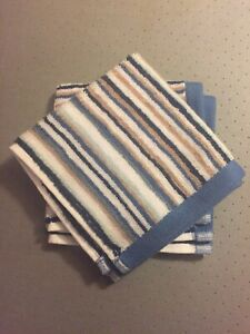 Sainsbury's Pack Of Two Cotton Face Cloths Blue Stripe BNWOT