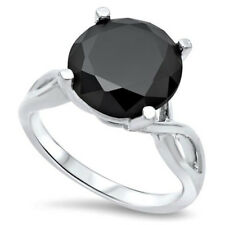 Natural Black Diamond Certified 3.74 Ct. Engagement Ring in Silver