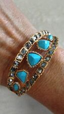 ALEXIS BITTAR Gold Color Turquoise Bangle Bracelet With White Stones