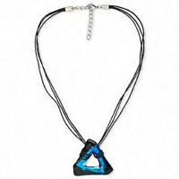 Dichroic Glass Necklace 18 Inch Genuine Hand Crafted Blue Black Pendant
