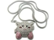 """ICED OUT """"MARIO KIRBY"""" PENDANT WITH 4mm 36"""" FRANCO CHAIN."""