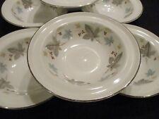 Ridgway White Mist VINEWOOD rimmed dessert bowls x 6