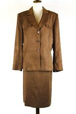 Kasper A S L Womens Size 16 Faux Suede 2 Piece Skirt Suit Brown