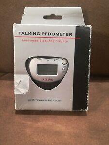 Talking Pedometer Announces Steps & Distance Plays Melodies Alarm Walking Joggin