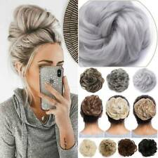 Large Scrunchie Messy Gray Curly Bun Hair Extensions Real As Human Women Chignon