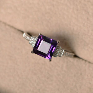 1.95 Ct Natural Amethyst Diamond Ring 14K White Gold Wedding Rings Set Size K L