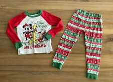 Disney Store Pajama Set Holiday Mickey Mouse Pluto Donald Christmas Sz 4