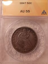 1847-P Liberty Seated 50C AU-55 No Issues or Details Rarity 6.2 or Better