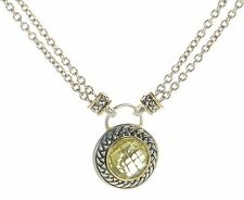 Italian Solid 925 Sterling Silver and 14K Gold Citrine Necklace