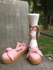 Puma Fenty by Rihanna Womens Pink Leather Bow Creeper Sandals sz.7 e58d28e7a