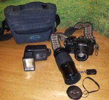 Vintage Chinon SLR  Film Camera 35mm w/ Lens Timer Zoom Lens Flash Strap
