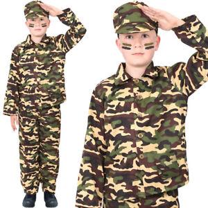 WW2 Guerre Mondiale 2 Garçon Enfants Militaire Armée Soldat Costume Fancy Dress Outfit 5-10